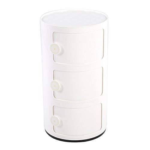 EBTOOLS 3 Schichten Container Componibili Schubladenschrank Rollcontainer Nachttisch Endtische Badezimmerschrank Aufbewahrungsschrank mit Slippng Tür, 63 x 32 cm(Weiß)