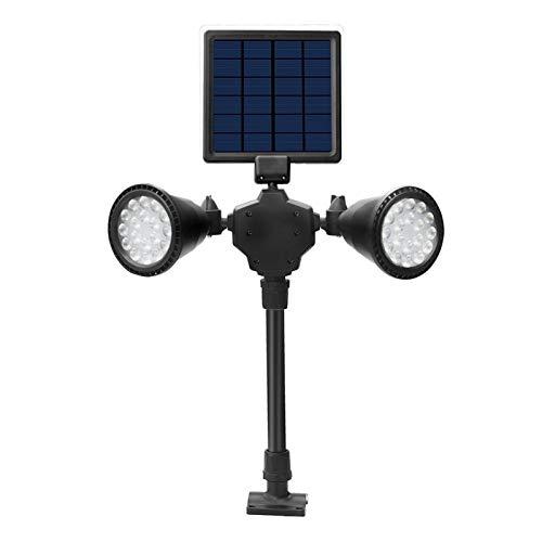 XuCesfs Luces solares de doble cabeza, 36 LED, panel solar, 1000 lúmenes, luz de paisaje, resistente al agua (color: cálido)