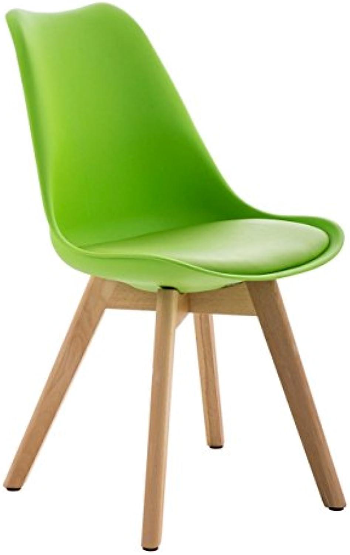 Esszimmerstuhl und Besucherstuhl Barcelona in modernem Design - aus Kunstleder und Hartholz (Walnuss) in grün