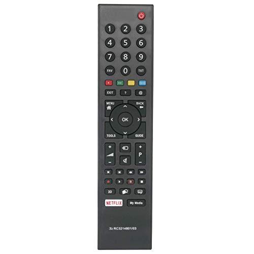 VINABTY RC3214801 / 03 Fernbedienung RC3214801 03 für Grundig TV durch Netflix ersetzt TS1187R-5 49GFB6626 TS1187 313923827833 XPS187
