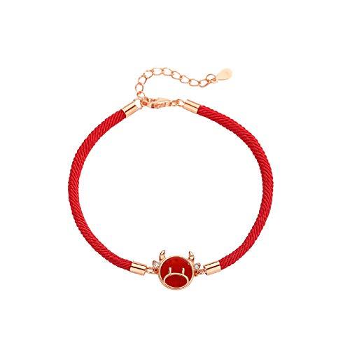 Hao-zhuokun New Year Bracelet S925 Sterling Silver Chinese Ox Charm Bracelet Chinese Zodiac Red Bracelet,red Agate With Zircon,Red Lucky Bracelet Jewelrys Gift For Women
