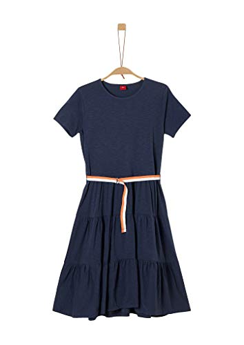 s.Oliver RED Label Mädchen Stufenkleid mit Kontrast-Gürtel Dark Blue 158.REG