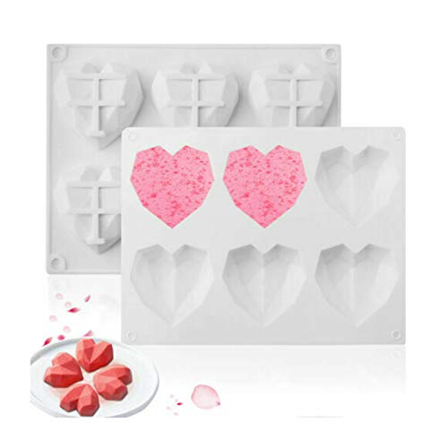 PETSBURG 6 Cavity Silicone 3D Heart Shape Cake Mold Fondant Chocolate Baking Mould Tool for Decorating, Cheesecake, Ice Cream, Candy, Fondant, Cupcake, Toppers (Weiß)