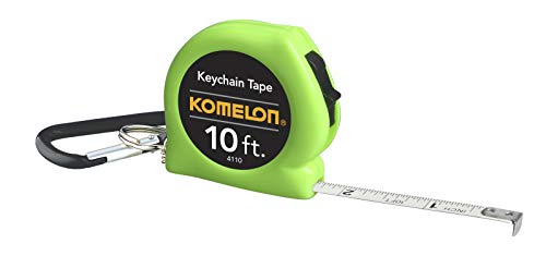 Komelon 4110CS Keychain Tape Measure Acrylic Coated Steel Blade 10' by 1/4', Neon green
