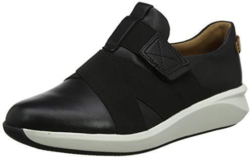 Clarks Un Rio Strap, Zapatillas Mujer, Negro (Black Leather Black Leather), 42 EU