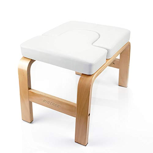 BIGTREE Yoga Fitness Exercise Headstand Bench Wood and PU Pad Steady Inversion Chair White