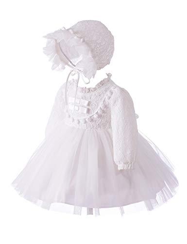 Zhhlinyuan Robe de Bapteme Bébé Fille Fête Robes Tutu avec Chapeau - Enfant Robe de Princesse Mariée Bowknot Manche Longue