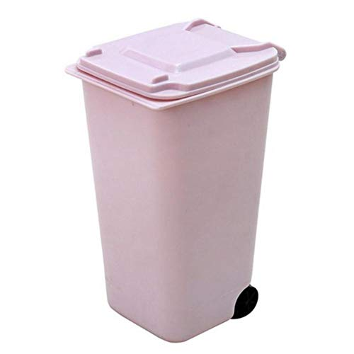 Mini papeleras de plástico para escritorio con tapa Escritorio de basura para limpieza del hogar práctico centro comercial Tijeras Lápiz Suministros de oficina-Papelera rosa, Estados Unidos