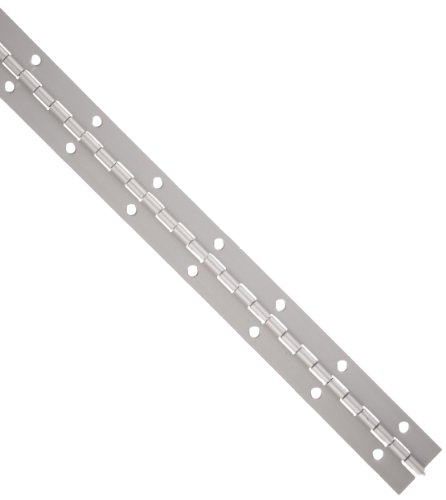 Aluminum 3003 Continuous Hinge with Holes, Clear Anodized Finish, 0.06' Leaf Thickness, 2' Open Width, 1/8' Pin Diameter, 1/2' Knuckle Length, 6' Long (Pack of 1)