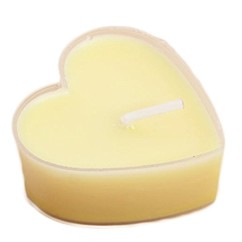 Milopon 9 x Tea Light Scented Birthday Candles Wedding Aromatherapy Candles Heart Decoration Romantic Floating Candles No Smoke, Romantic Valentine's Day Decoration (Yellow)