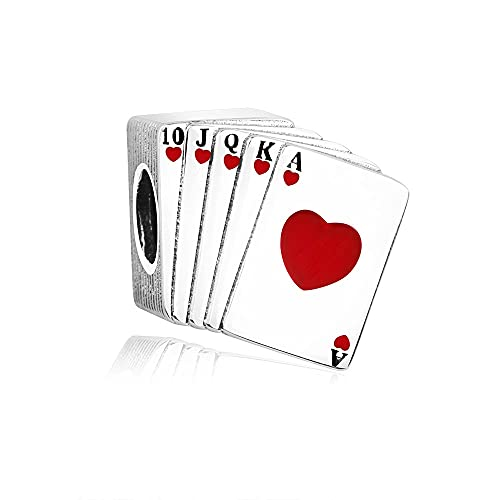 LIIHVYI Pandora Charms para Mujeres Cuentas Plata De Ley 925 Hombres De Póquer Compatible con Pulseras Europeos Collars