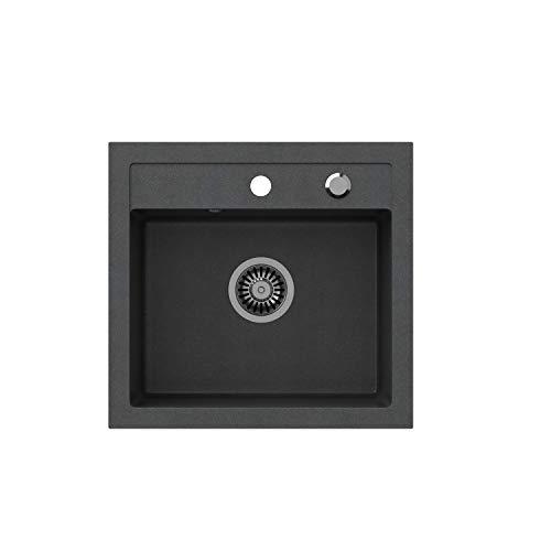 VBChome - Lavello da cucina, 50 x 47 cm, colore Nero