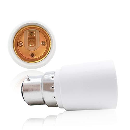 VARICART B22 bis E27 Lampensockel Konverter, Glühlampenfassung Adapter, Maximale Wattleistung 500W Hitzebeständiger Anschlussstecker, Keine Brandgefahr bis zu 220 Grad (2-er Packung)