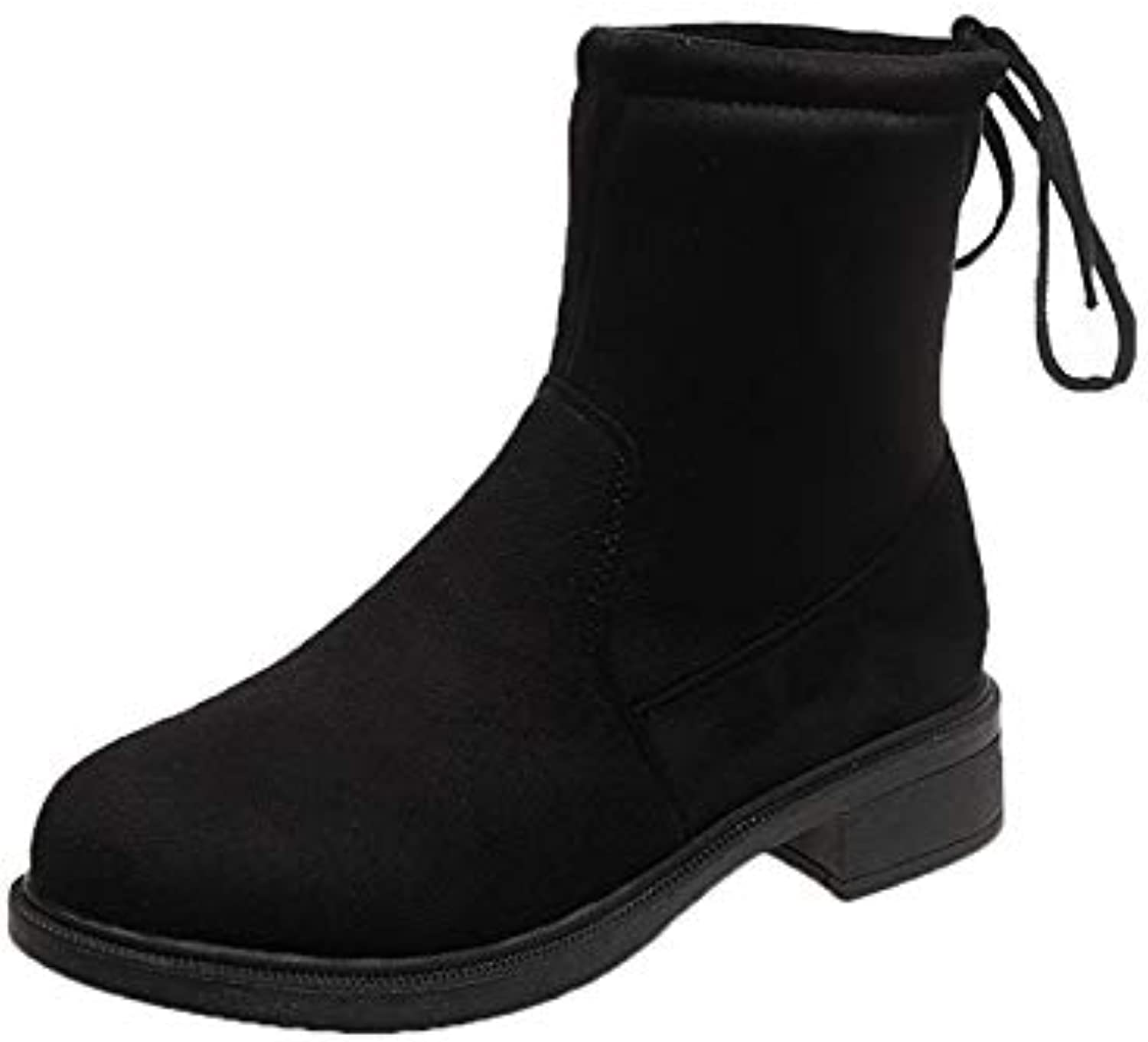 Leigh Suede Flat Boots Classic Slim Snow Boots Ladies Boots - Black