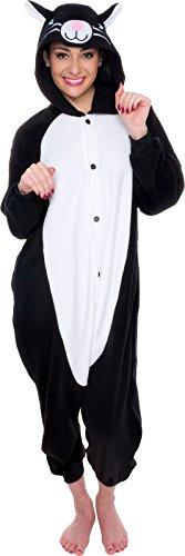 Silver Lilly Unisex Adult Pajamas - Plush One Piece Cosplay Cat Animal Costume (Medium) Black/White