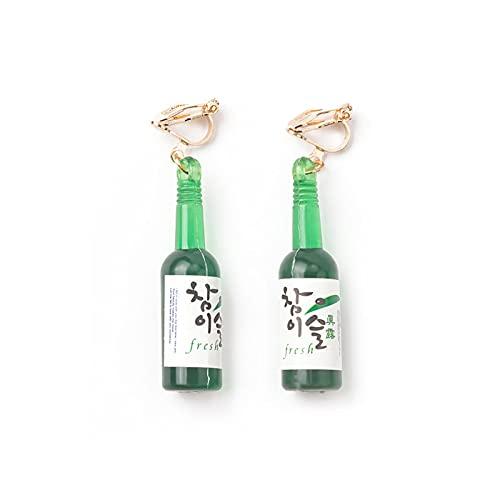 SALAN Botella De Cerveza Botella De Vidrio Verde Pendientes De Clip De Oreja Indoloros Pendientes Extraños De Nicho Exagerado Divertido