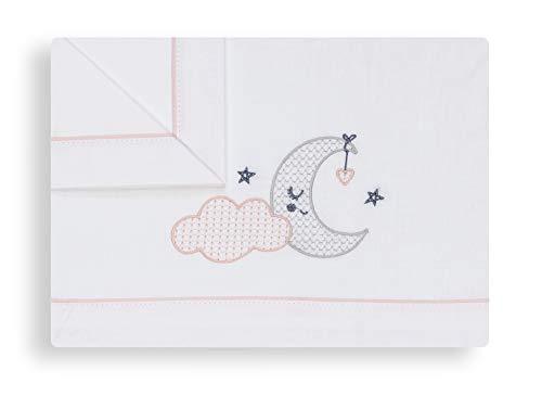 Sabanas 100% Algodón CUNA 60X120 Nube Luna Rosa - (bajera+encimera+funda almohada)