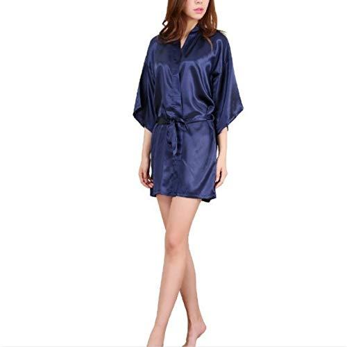 T Ll Sexy Satin Nacht Robe-Spitze Bademantel Bridesmaid Robes Morgenmantel for Frauen (Peacock Blue) (Farbe : Dark Blue, Size : L)