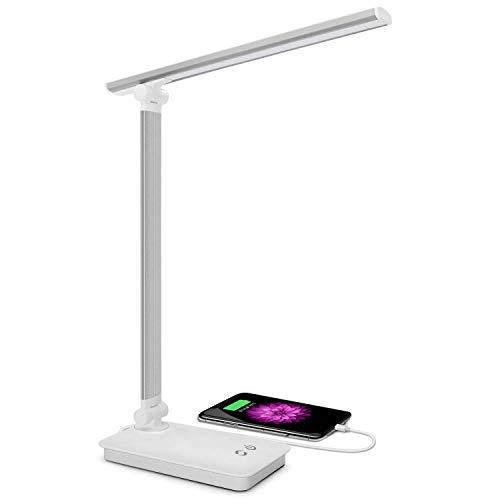 SaponinTree Lámpara Escritorio LED, Lámparas de Mesa USB Recargable con 5 Modos de Colores y 3 Niveles de Brillos, Plegable de Escritorio Control Táctil, Protege a Ojos, para Estudio, Oficina