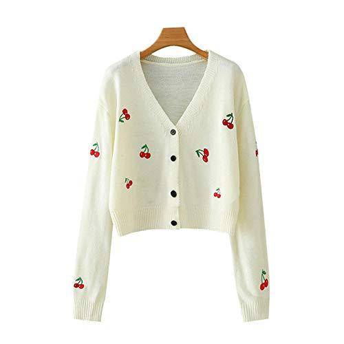 Moda Sudaderas Jersey Sweater Cárdigan De Punto Recortado Bordado A La Moda para Mujer, Suéter Vintage De Manga Larga para Mujer, Tops Elegantes L 1