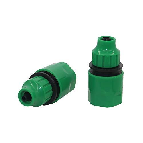Con Aire De Tuberías 1/4 pulgadas, 3/8 pulgadas de manguera rápida Conectores Agricultura Jardín de acoplamiento rápido de agua de riego accesorios de tubería de 2 PC (Color : Green)
