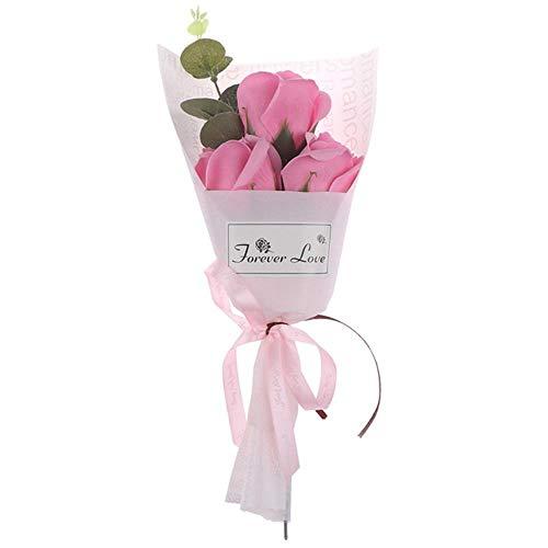 Mooie 3Heads nam Boeket Soap Flower Mother's Day Gift Mini Bouquet Verjaardagscadeau Decor Kunstbloemen,Roze