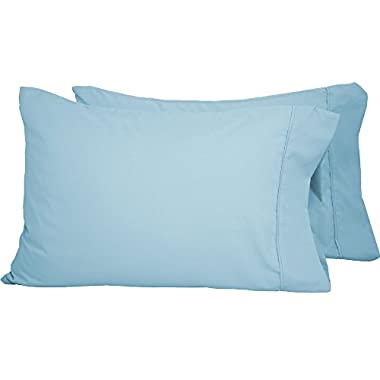 Bare Home Premium 1800 Ultra-Soft Microfiber Pillowcase Set - Double Brushed - Hypoallergenic - Wrinkle Resistant (Standard Pillowcase Set of 2, Light Blue)