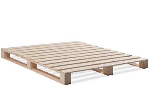 Palettenbett Bett aus Paletten mit 11 Leisten, Palettenmöbel  180 x 200 cm, Fichte natur