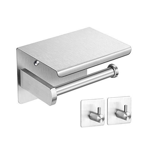 HIRALIY Toilettenpapierhalter ohne Bohren, Klorollenhalter Edelstahl, Zwei Stück Selbstklebend Haken, Rostfrei, für Badezimmer Toilette, Badezimmer Set (Silber)
