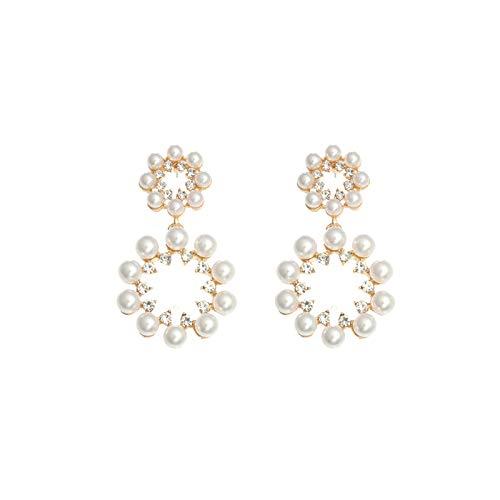 SION GOGO Adecuado para regalos, adecuado para fiestas, pendientes de tuerca redondos de perlas con diamantes de imitación, 1 par