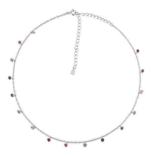 Guang Collar de Cadena Gargantilla con Dije de circonita arcoíris de Plata de Ley 925, Collar de Cadena Rock Punk, Colgante de Cuentas Nuevas 2021, joyería Fina