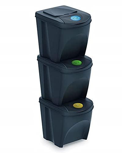 Mülleimer Abfalleimer Mülltrennsystem 75L - 3x25L Behälter Sorti Box Müllsortierer 3 Farben von rg-vertrieb (Anthrazit)