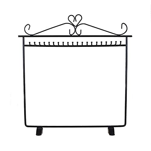 jwj Estante de joyería con soporte de joyería ho Colgador de collar Soporte de exhibición de metal negro con estante de joyería (Color: W4466 Negro)