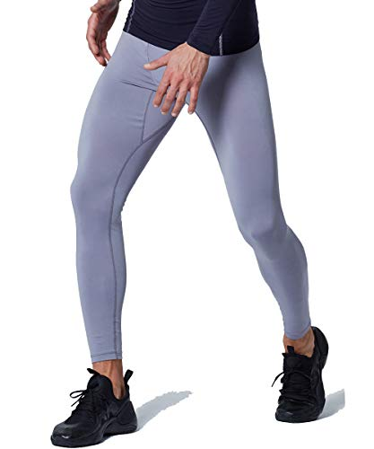 EXIO Mens Compression Baselayer Pants Cool Dry Running Tights Leggings EX-P06 (Small, EXP06-GR)