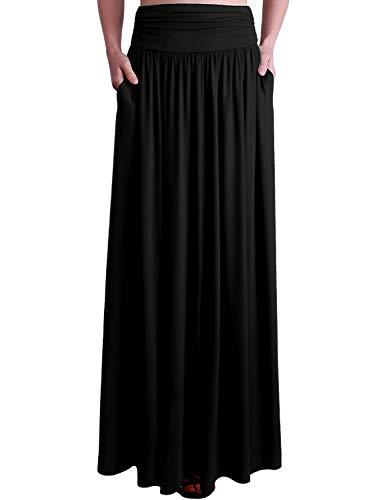 Doublju Womens Long Light Maxi Style Waist Skirt Black Medium