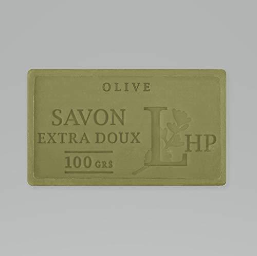 PRODUIT DE PROVENCE - OLIVE - SAVON DE MARSEILLE EXTRA DOUX 100 G - DÉLICAT PARFUM NATUREL D'OLIVE- GARANTI SANS PARABEN