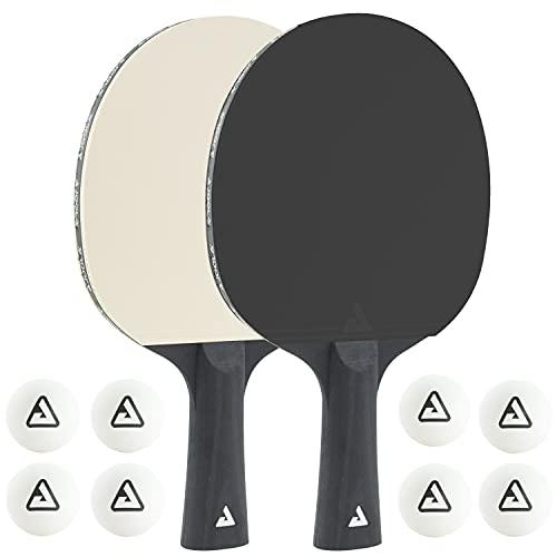 JOOLA Juego de Ping Pong Colorato, Compuesto por 2 Raquetas y 8 Pelotas de Ping Pong. Ideal para familias y Deportes de Ocio, Color Blanco y Negro, Talla única