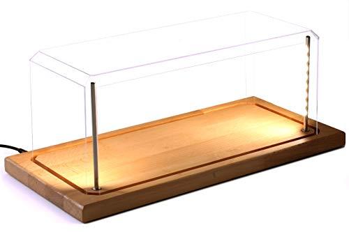 Pioneer Plastics - Vitrine für Modellautos mit Echtholzboden, LED Beleuchtung, Dimm-USB-Kabel, Maßstab 1:18