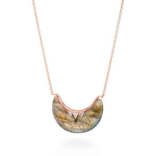 """Colgante de plata dorado en oro rosé, con labradorita y circonitas,""""Dalal"""" de Luxenter."""