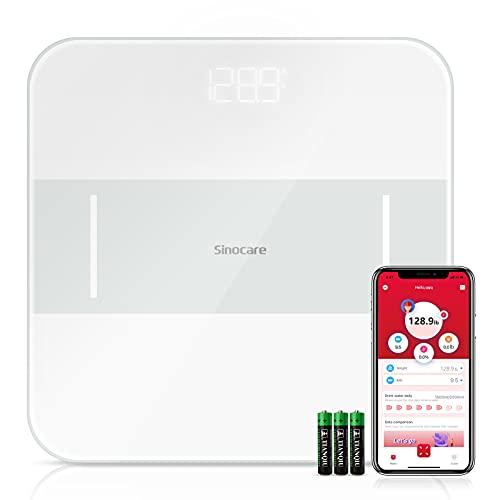Sinocare Báscula Digitale Básculas de Baño con App, Alta Precisión, Superficie de Vidrio, Pantalla LED, Carga Máxima de 180kg / 396lbs Blanco