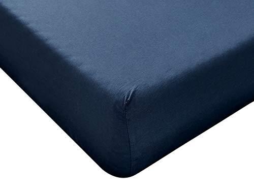 Lenzuolo Singolo con Angoli 90 x 200 cm Blu, Materiale 100% Puro Cotone, Lenzuola Letto Singolo 1...