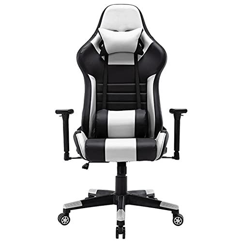 Sedia da gioco, stile Racing E-Sports, sedia ergonomica da ufficio con schienale alto in pelle PU, altezza regolabile e braccioli, poggiatesta e supporto lombare bianco