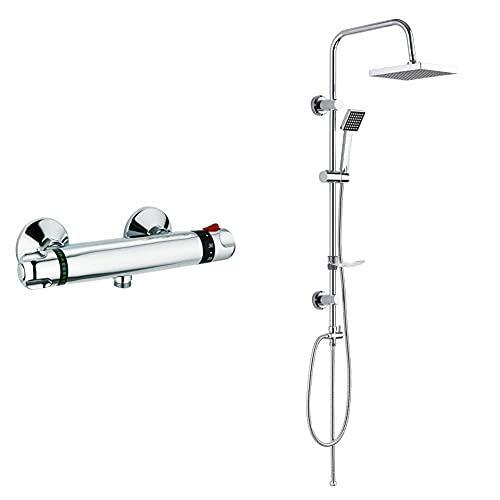 DP Grifería TTCA0001 Grifo termostático de ducha, Plateado + RY-S002 Azabache Set de ducha cuadrado sin grifo, acero inoxidable, plateado, altura de 98 cm