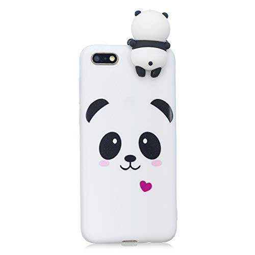 LeviDo Coque Compatible pour Huawei Y5 2018/Huawei Y5 Prime 2018 Étui Silicone Cute 3D Panda Modèle Souple Bumper TPU Gel Caoutchouc Antichoc Cover pour Fille Homme Femme, Panda