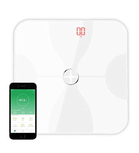 Bascula Inteligente Fitness de Vidrio con Bluetooth y App - Blanco