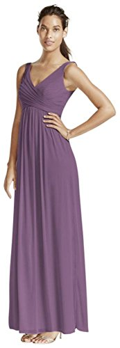 David's Bridal Long Mesh Bridesmaid Dress with Cowl Back Detail Style F15933, Wisteria, 0