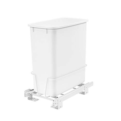 Rev-A-Shelf RV-814PB 20 Quart Undermount Vanity Kitchen Cabinet Pullout Waste Container, White