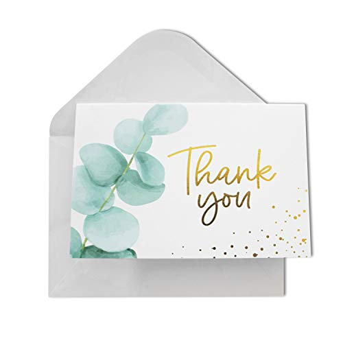 Thank You Cards with Envelopes | 48 Gold Foil Eucalyptus | Wedding, Bridal Shower, Baby Shower, Graduation, Small Business Thank You Notes 4x6 inches Blank Inside
