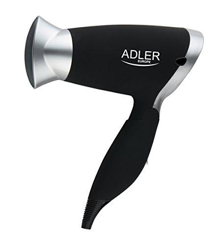 Adler AD 2219 Secador de Pelo Compacto, 1250W, Filtro Extraible, 2 Velocidades, 3 Temperaturas, Polímero, Negro, Plata, Talla única