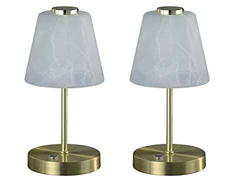 Juego de 2 lámparas LED de mesa con regulador de intensidad táctil, latón mate, pantalla de cristal alabastro, 24 cm de alto